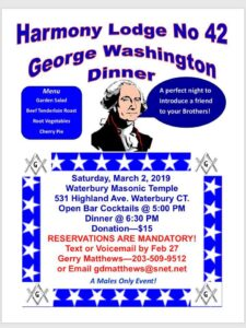 George Washington Dinner @ Harmony Lodge No. 42